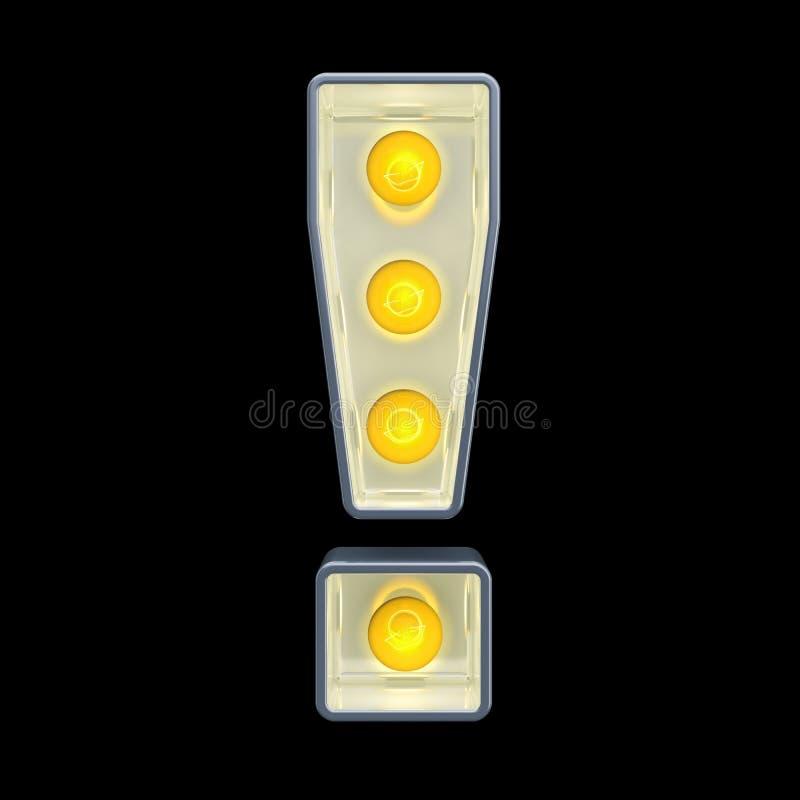 电灯泡惊叹号,减速火箭的发光的字体 3d?? 皇族释放例证