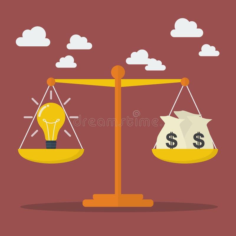 电灯泡想法和金钱在等级平衡 皇族释放例证