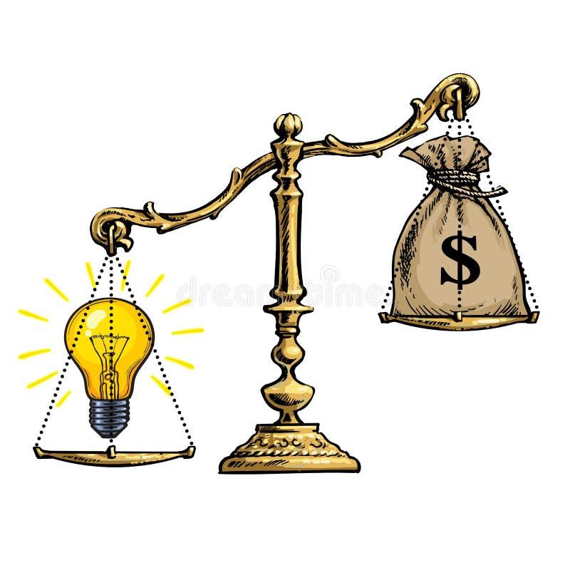 电灯泡想法和金钱在等级 向量 向量例证