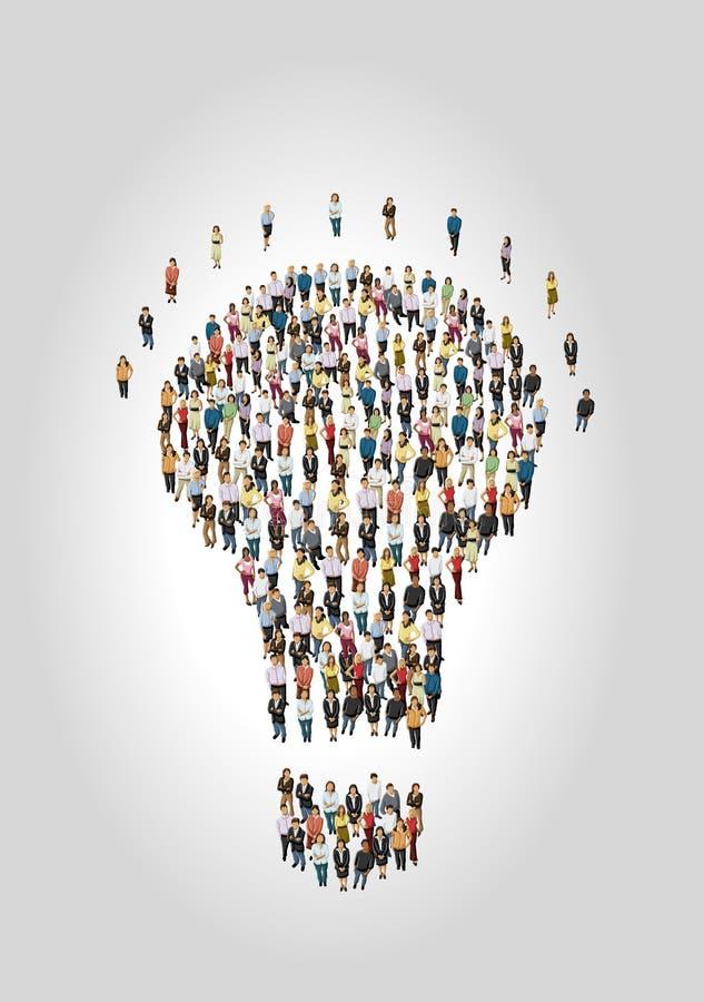 电灯泡想法形状的人们  库存例证