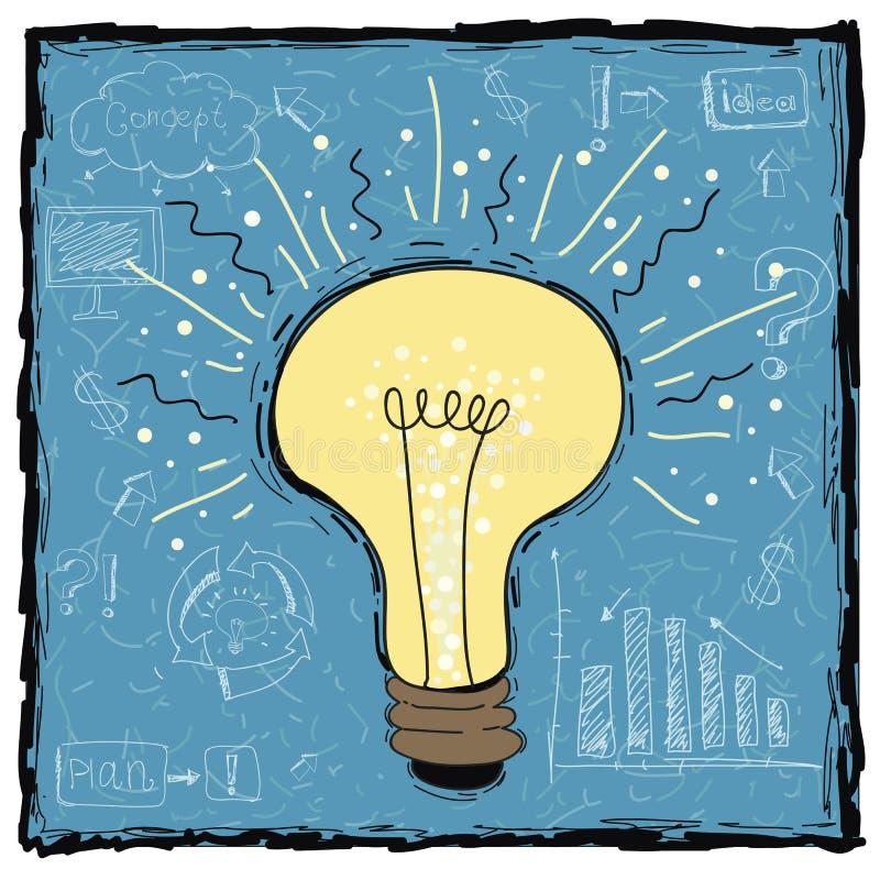 电灯泡想法概念模板 也corel凹道例证向量 与技术企业网络过程图概念的创造性的电灯泡 库存例证