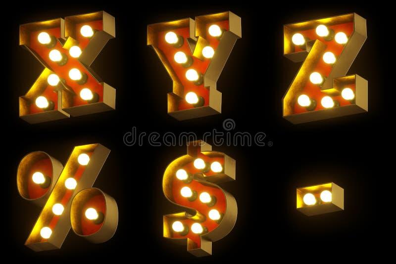 电灯泡戏院或夜展示3D字体 皇族释放例证