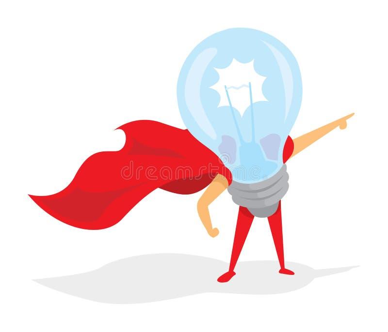 电灯泡或超级想法英雄有海角的 向量例证