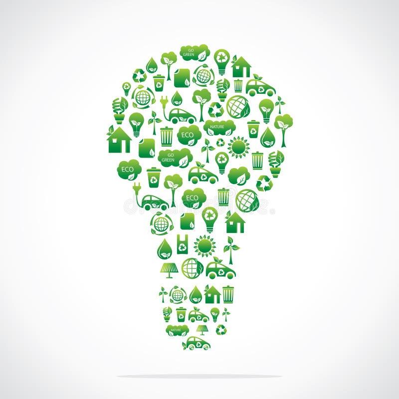 电灯泡是与eco本质图标的设计 库存例证