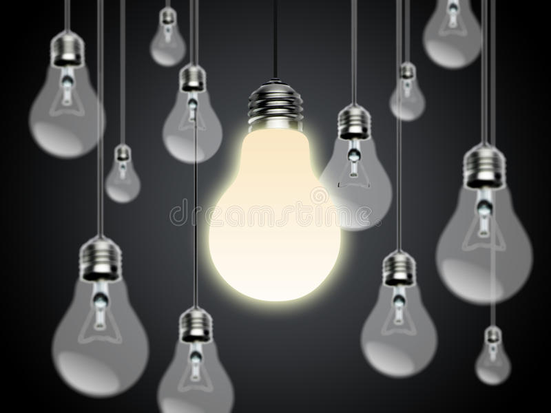 电灯泡有想法Conzept 库存图片