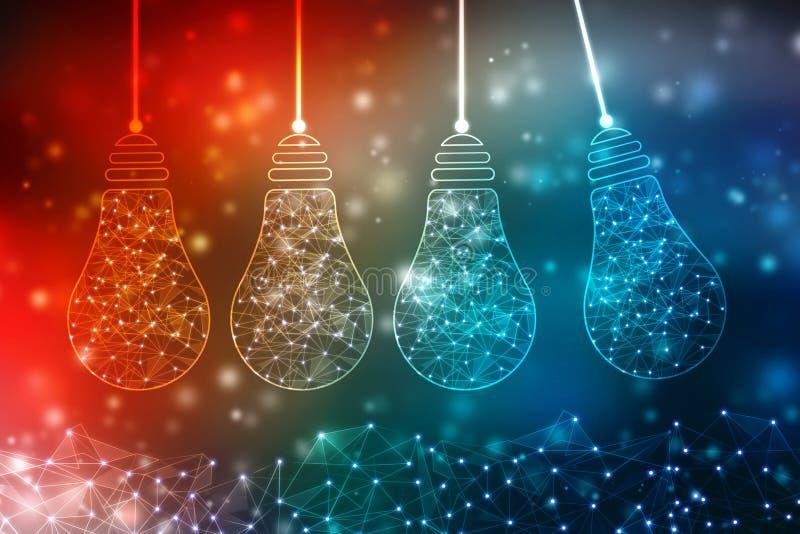 电灯泡未来技术,创新背景,创造性的想法概念 皇族释放例证