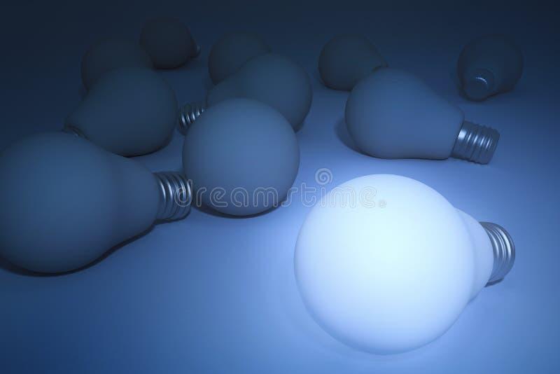 电灯泡查出的轻的白色 3d翻译 向量例证