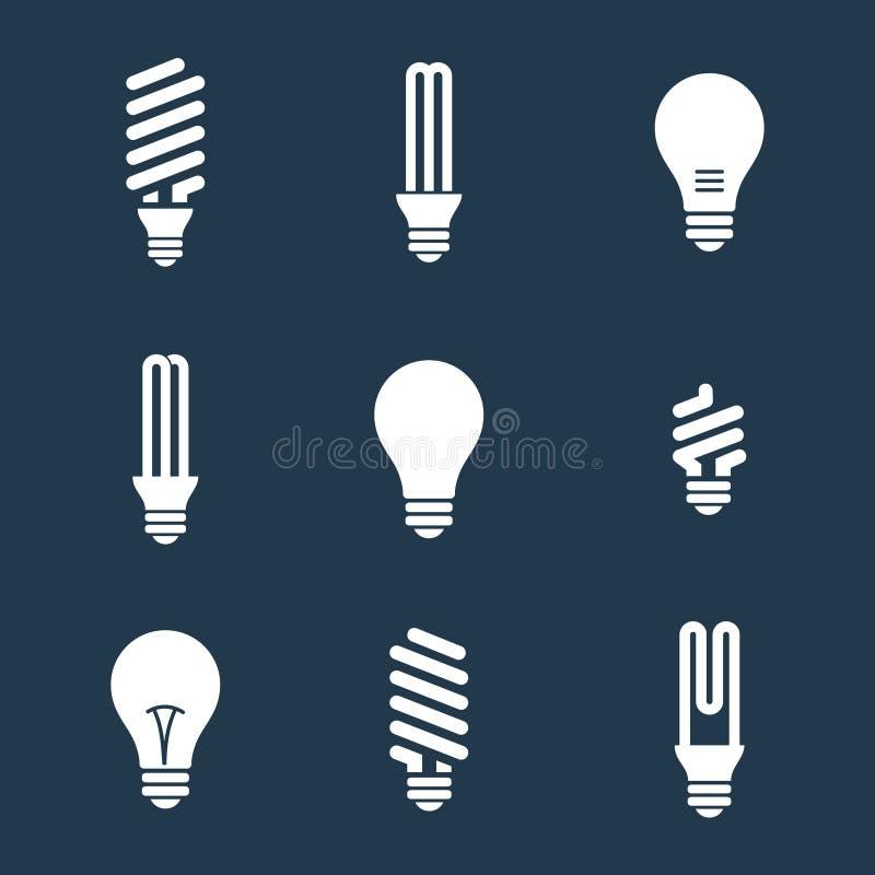 电灯泡查出的轻的白色 电灯泡象集合 在空白背景 电 向量例证