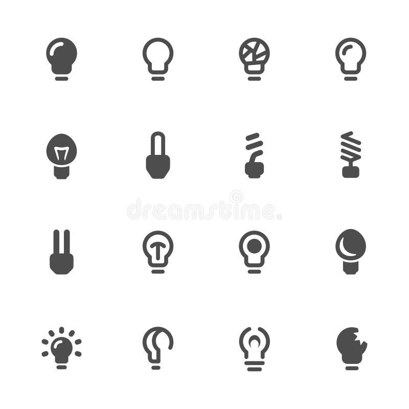电灯泡查出的轻的白色 电灯泡象集合 向量例证