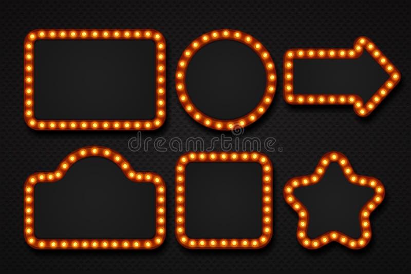 电灯泡框架 构成镜子大门罩马戏牌戏院赌博娱乐场剧院广告牌团边界 3D光框架 库存例证