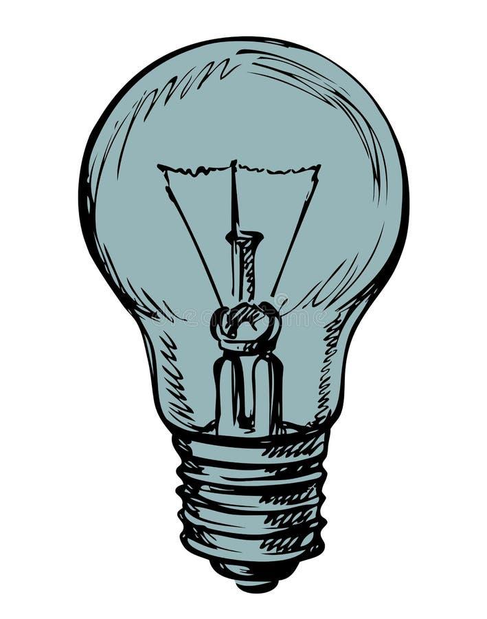 电灯泡概念想法例证光向量 得出花卉草向量的背景 皇族释放例证