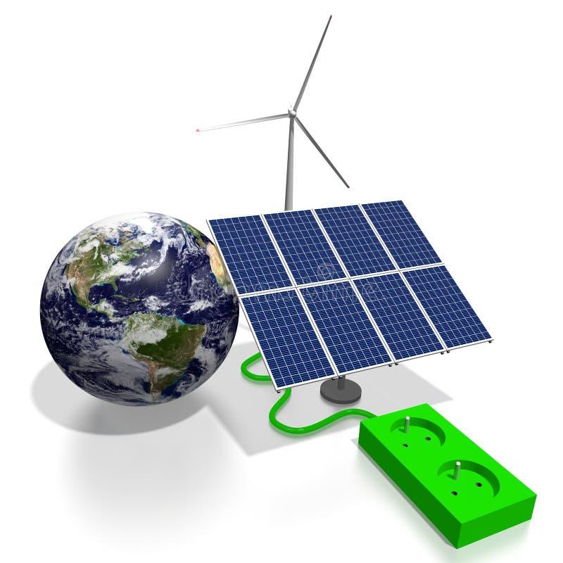 电灯泡概念能源花绿灯可延续的结构树 库存例证
