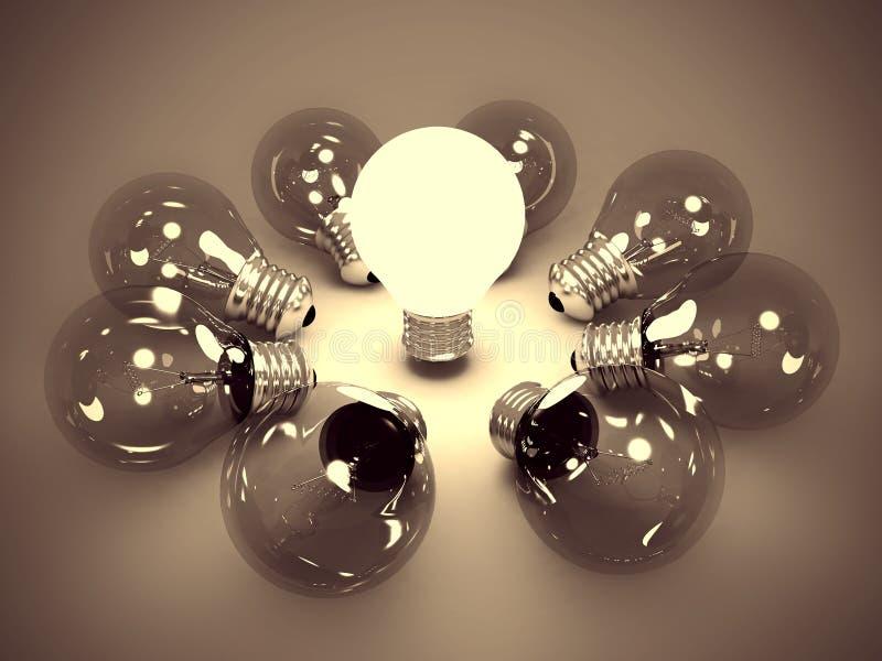 电灯泡概念黑暗的发光的想法光一 库存照片