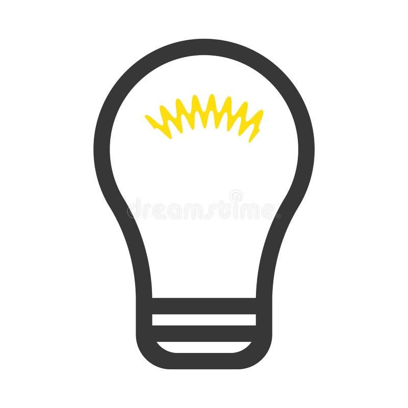 电灯泡概述平的样式传染媒介eps10 电灯泡标志 想法象 在轻的背景隔绝的电灯泡象 照明设备的标志 库存例证