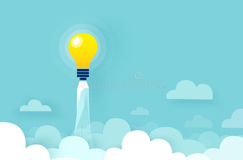 电灯泡火箭传染媒介飞行在云彩的 皇族释放例证