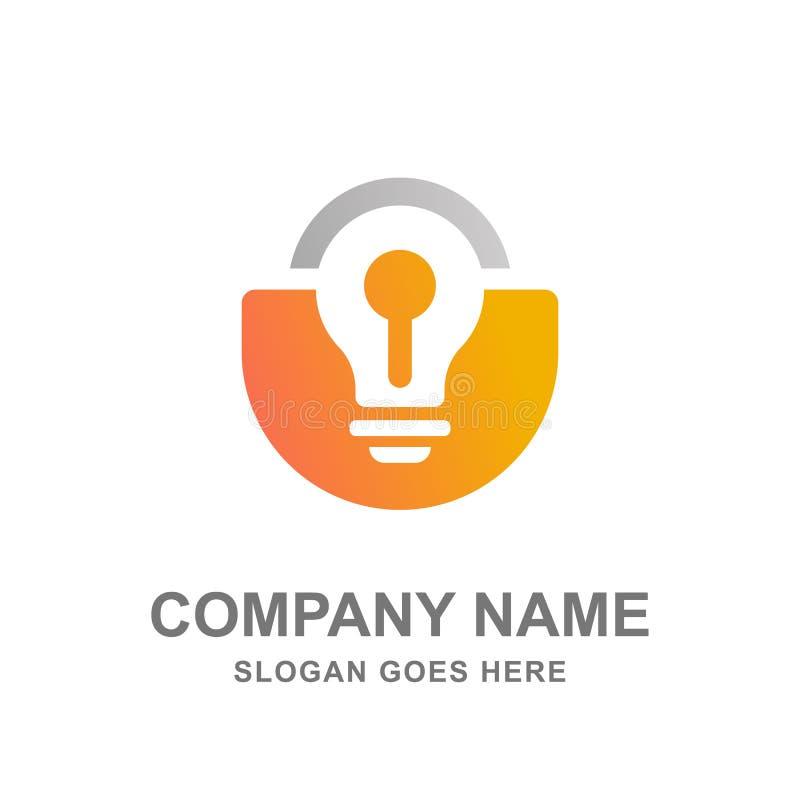 电灯泡灯挂锁钥匙商标传染媒介例证 库存照片
