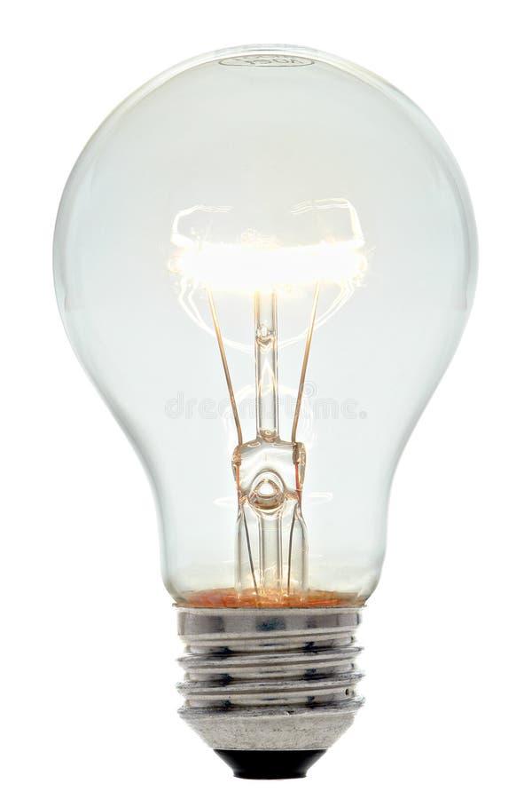 电灯泡电细丝发光的光 免版税图库摄影