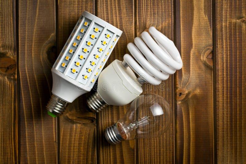 电灯泡的各种各样的类型 免版税库存照片