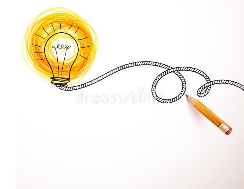 画电灯泡的手 向量例证