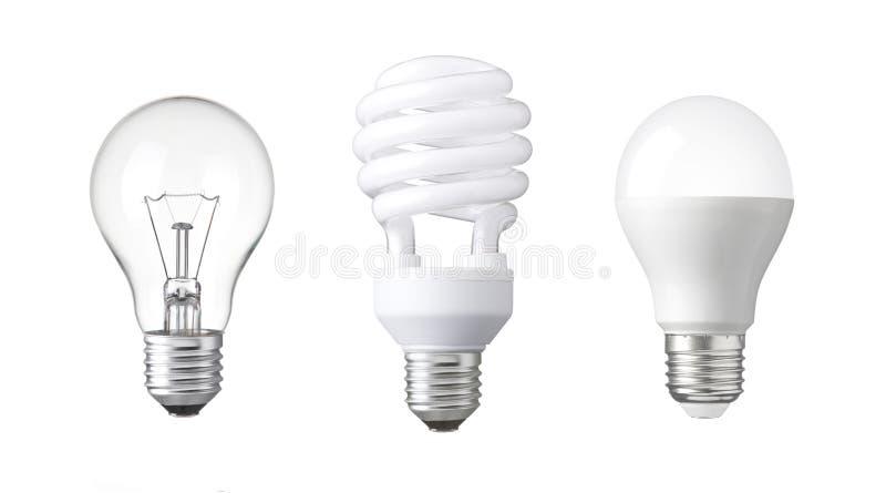 电灯泡的演变 钨电灯泡、萤光电灯泡和LED 免版税库存图片