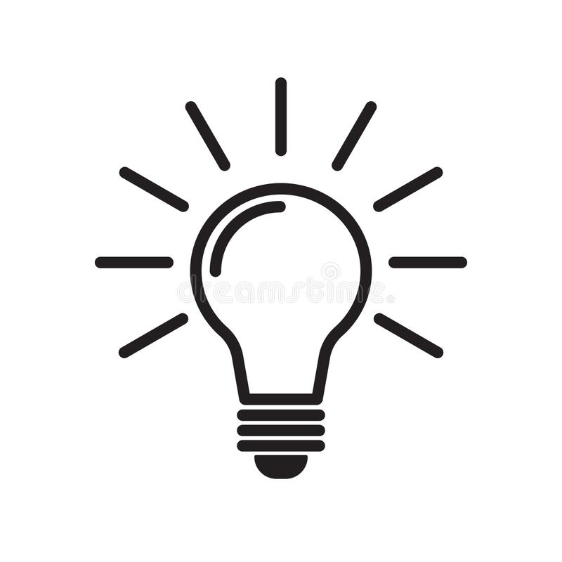 电灯泡线象传染媒介,隔绝在白色背景 想法象,想法标志,解答,想法的概念 向量例证