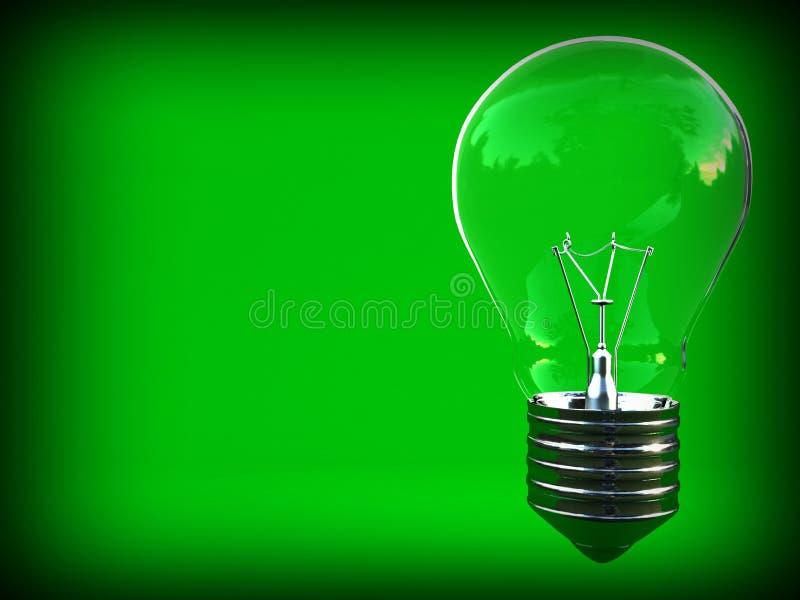 电灯泡经典eco绿灯空间写道 库存例证