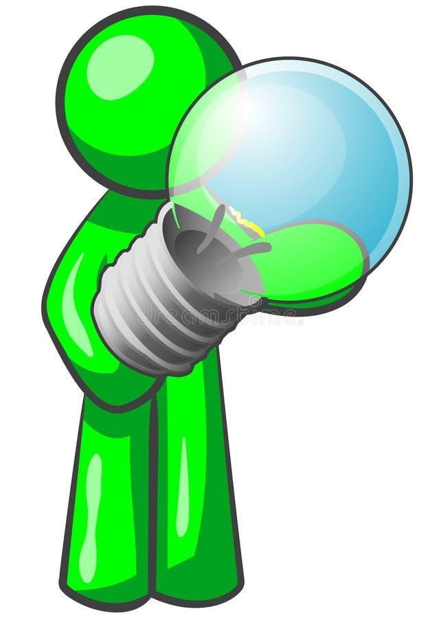 电灯泡绿灯人 免版税图库摄影