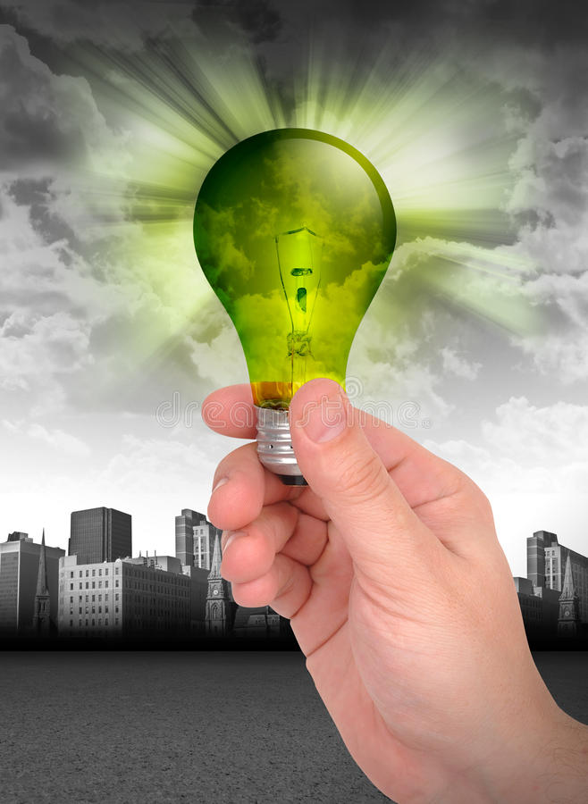 电灯泡能源绿色现有量藏品光 库存图片