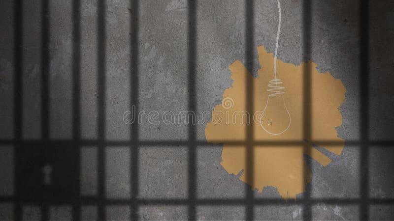 电灯泡被绘在监狱酒吧下 免版税库存图片