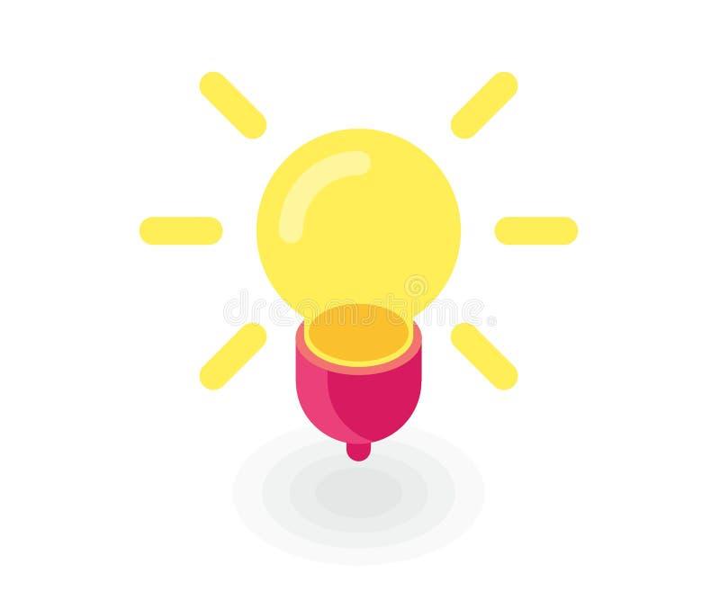 电灯泡象、能量和想法标志 在平的等量3D样式的传染媒介例证 皇族释放例证