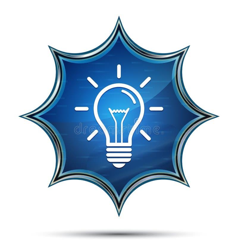 电灯泡象不可思议的玻璃状镶有钻石的旭日形首饰的蓝色按钮 向量例证
