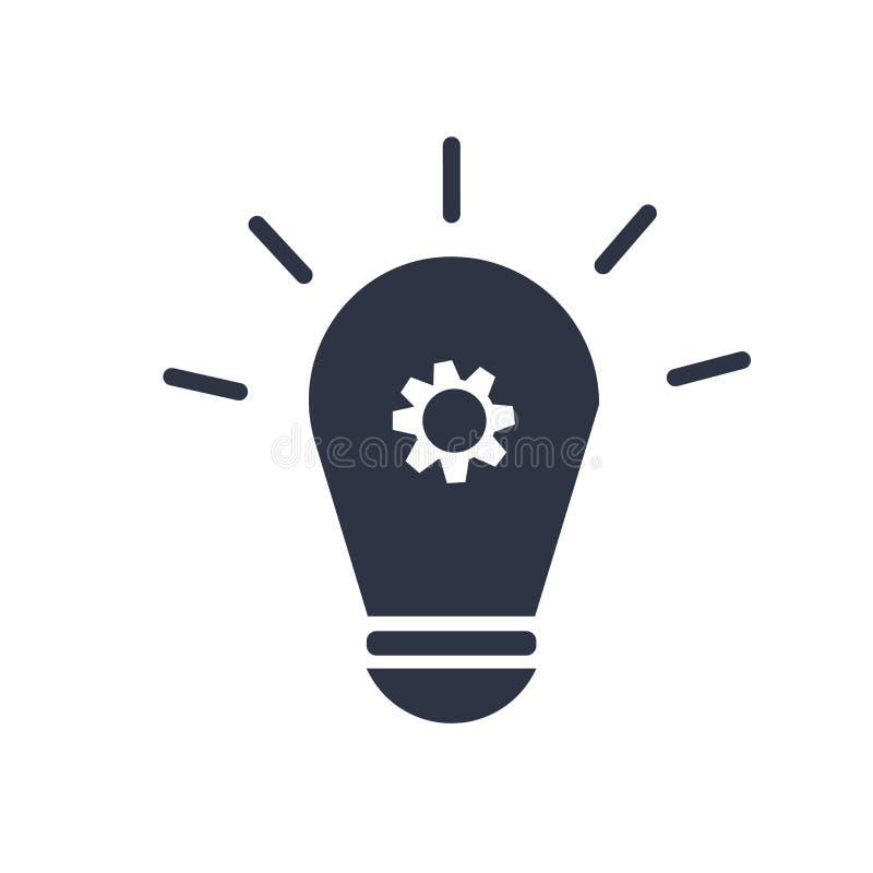 电灯泡象在白色背景和标志隔绝的传染媒介标志,电灯泡商标概念 向量例证
