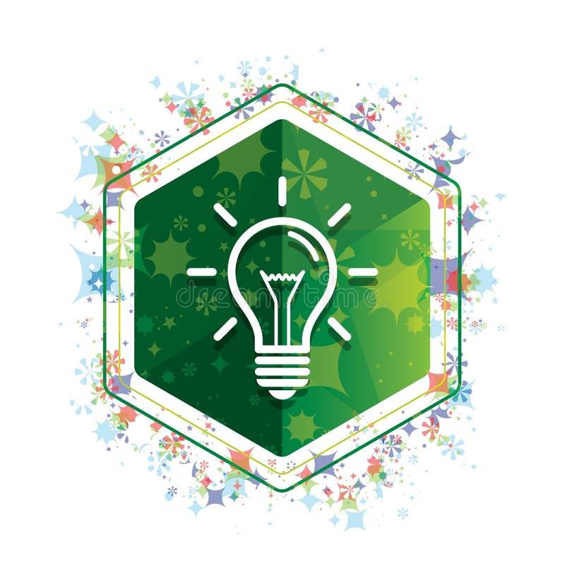 电灯泡象花卉植物样式绿色六角形按钮 库存例证