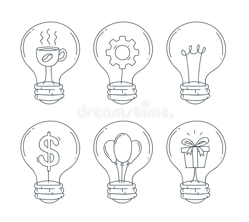 电灯泡象集合 手凹道和乱画线型 也corel凹道例证向量 皇族释放例证