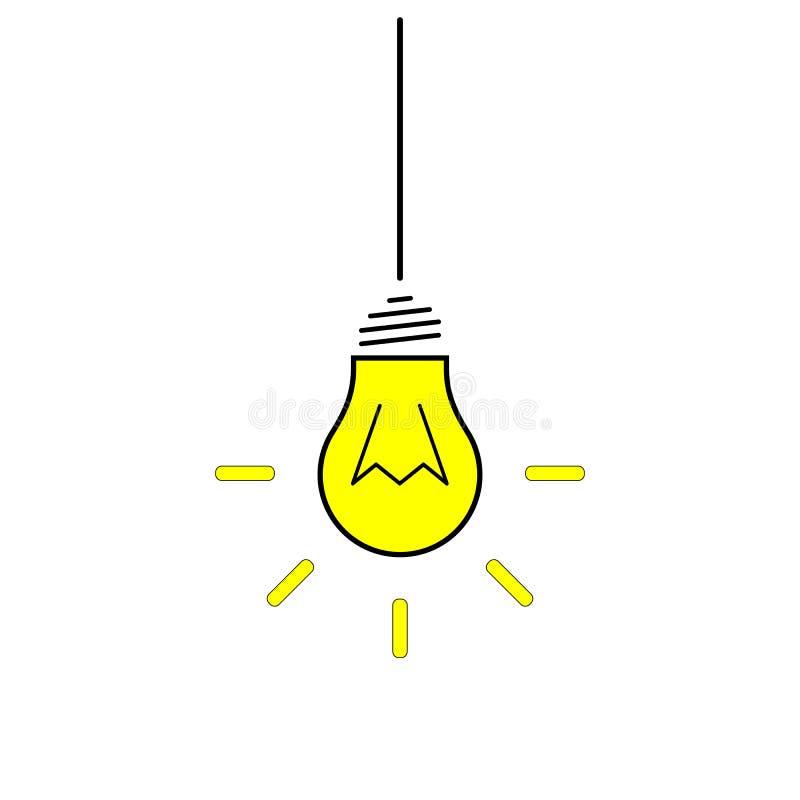 电灯泡象 在白色背景隔绝的想法象 想法标志,解答,想法的概念 点燃电灯 电, shi 皇族释放例证