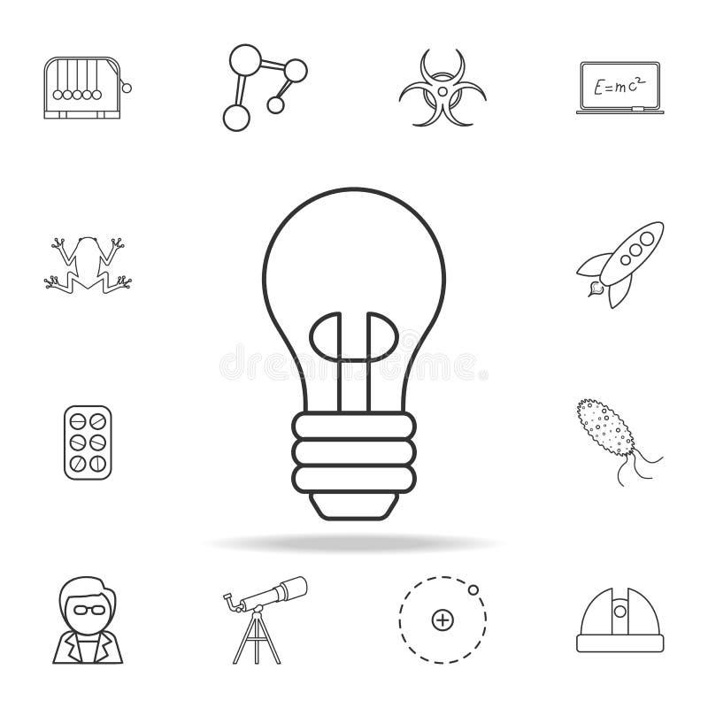 电灯泡象 详细的套科学和学会概述象 优质质量图形设计 其中一个汇集象fo 向量例证