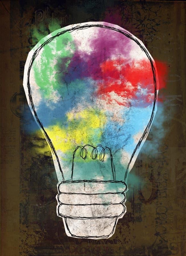 电灯泡,创新,想法,目标 皇族释放例证