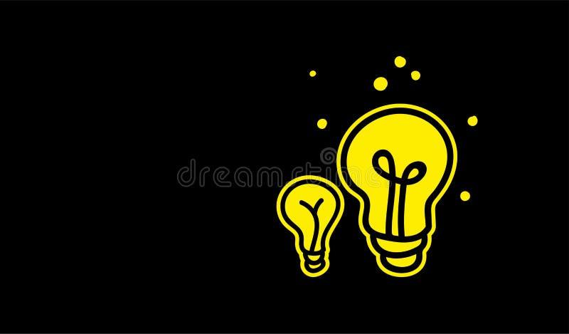 电灯泡,在乱画平的样式的创造性的想法 皇族释放例证