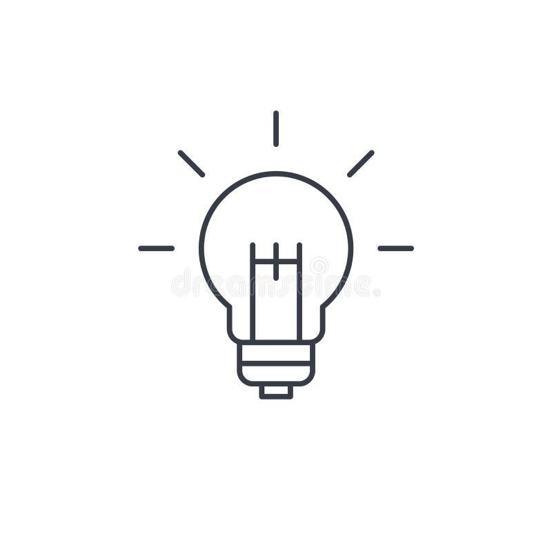 电灯泡,想法稀薄的线象 线性传染媒介标志 皇族释放例证