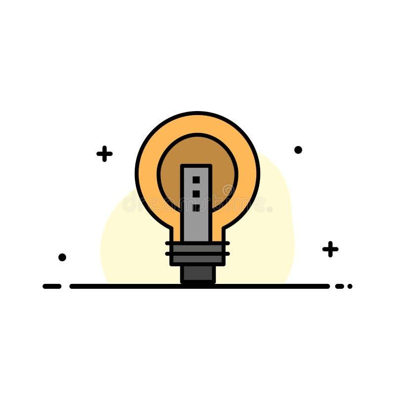 电灯泡,明亮,事务,想法,光,电灯泡,力量企业平的线填装了象传染媒介横幅模板 向量例证