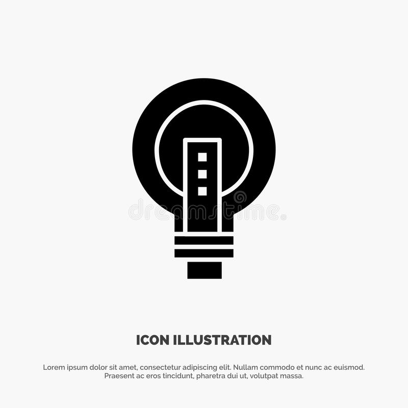 电灯泡,明亮,事务,想法,光,电灯泡,力量坚实纵的沟纹象传染媒介 库存例证