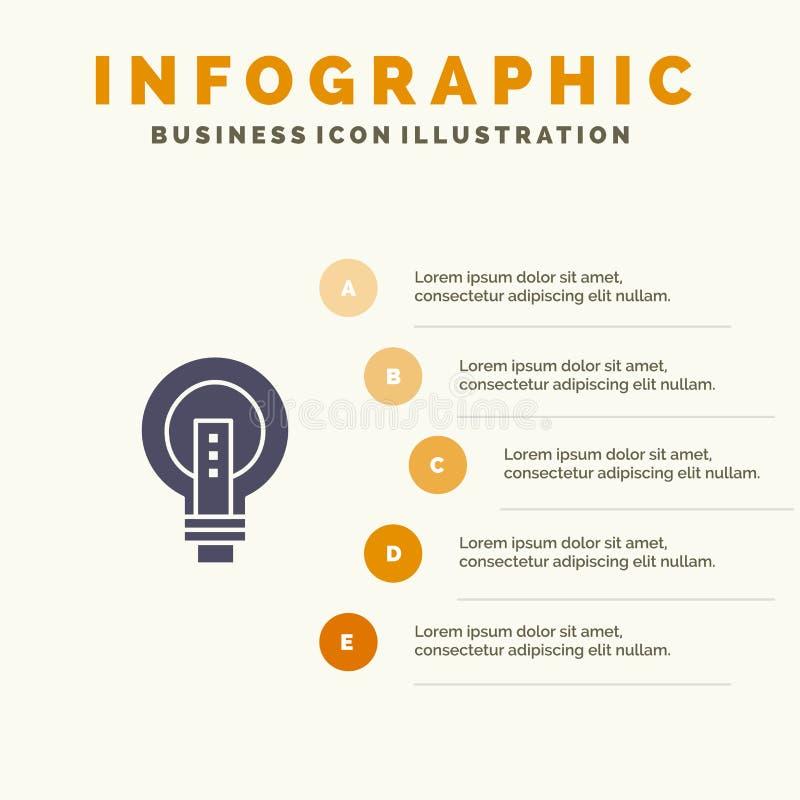 电灯泡,明亮,事务,想法,光,电灯泡,力量坚实象Infographics 5步介绍背景 向量例证