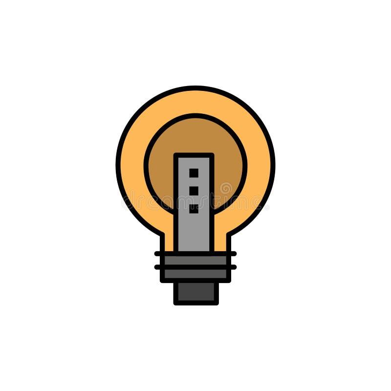 电灯泡,明亮,事务,想法,光,电灯泡,力量平的颜色象 传染媒介象横幅模板 皇族释放例证