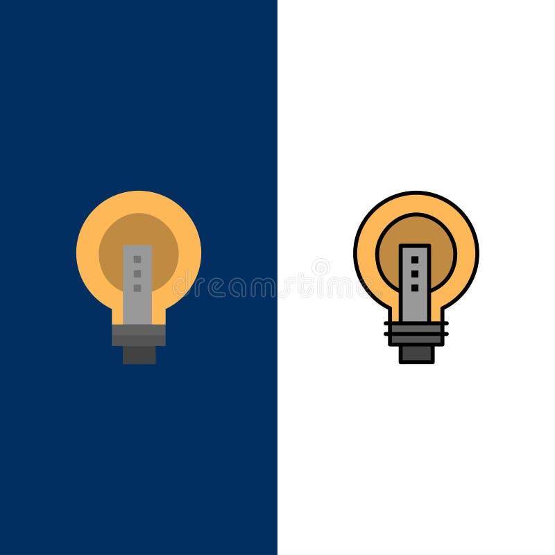 电灯泡,明亮,事务,想法,光,电灯泡,力量象 舱内甲板和线被填装的象设置了传染媒介蓝色背景 向量例证