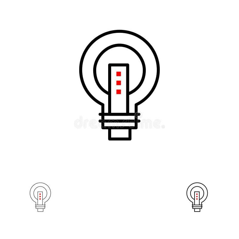 电灯泡,明亮,企业、想法、光,电灯泡,力量大胆和稀薄的黑线象集合 向量例证