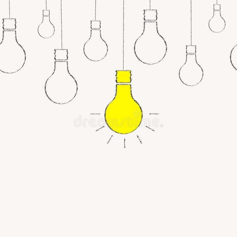 电灯泡画与白垩 无缝的背景 向量例证