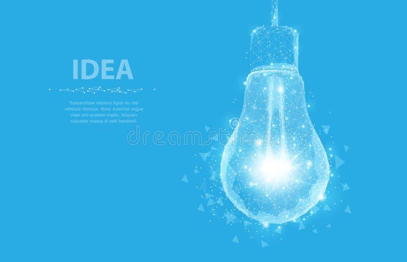 电灯泡 多角形滤网艺术看起来象星座 概念例证或背景 库存例证