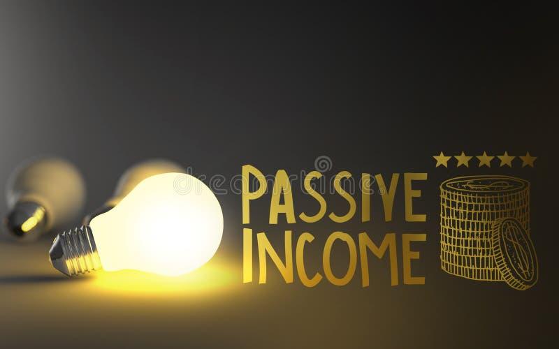 电灯泡3d和手拉的被动收入 免版税库存图片