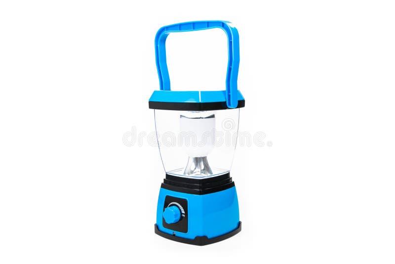 电灯电蓝色 安置在一个空白背景 免版税库存图片