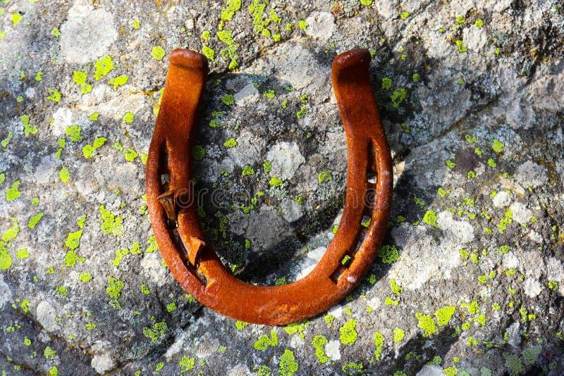 电烙在生苔石头的老马掌,森林金属生锈幸运 免版税图库摄影